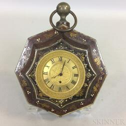 Small English Painted Tin Hanging Timepiece
