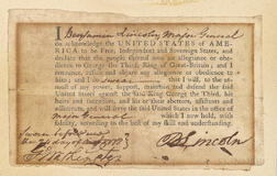 Washington, George (1732-1799) and Benjamin Lincoln (1733-1810) Signed Oath of Allegiance.