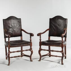 Pair of Continental Baroque Leather-upholstered Open Armchairs