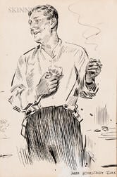 James Montgomery Flagg (American, 1877-1960)    Gentleman in Partial Evening Dress Preparing to Shave