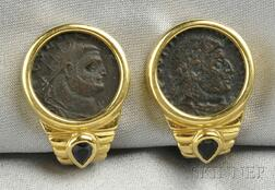 18kt Gold, Ancient Coin, and Sapphire Earclips, Retailed by Dorfman