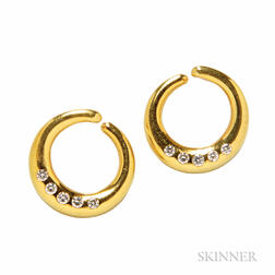 18kt Gold and Diamond Hoop Earrings