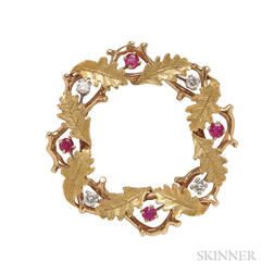 18kt Gold, Ruby, and Diamond Wreath Brooch, Raymond Yard