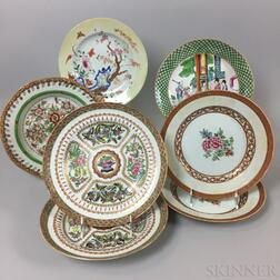 Seven Chinese Export Porcelain Dinner Plates