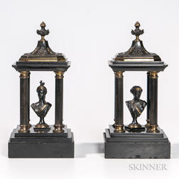 Pair of Gilt and Patinated Bronze Monuments