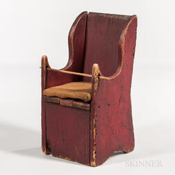 Red-painted Pine Potty Chair
