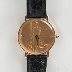 Rodania Liberty 1924 Gold Coin Quartz Wristwatch
