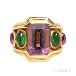 18kt Gold, Amethyst, and Tourmaline Ring, Seidengang