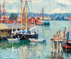 Joseph Eliot Enneking (American, 1881-1942)      Schooner at Dock