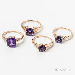 Four 14kt Gold and Amethyst Rings