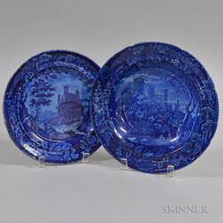 Blue Staffordshire Transferware Bowl and Plate