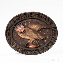 Carved, Painted, and Gilt Oval Plaque