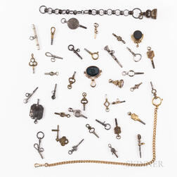 Thirty-three Watch Keys, Chains, and Fobs