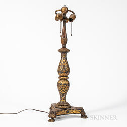 Neoclassical Silvered and Gilt Cast Bronze Lamp