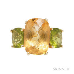 14kt Gold, Citrine, and Peridot Ring
