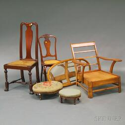 Two Chairs, Two Footstools, Oval Mirror and Maple Club Chair