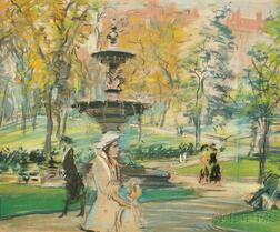 Arthur Clifton Goodwin (American, 1866-1929)      Fountain Below the State House, Boston Common