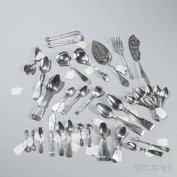 Forty-six New York Coin Silver Spoons and Serving Pieces