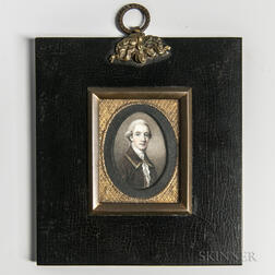 Anglo/American School, Late 18th Century      Miniature Portrait of a Gentleman in a Brown Suit