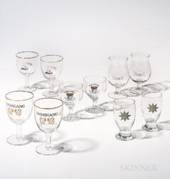 Five Pairs of Advertising Beer Goblets