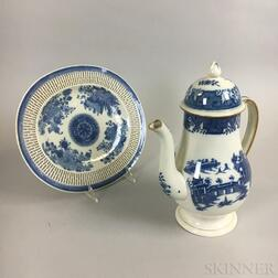 Two Blue and White Transfer-decorated Ceramic Items