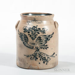 Two-gallon Cobalt-decorated Stoneware Crock
