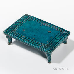 Miniature Turquoise-glazed Pottery Bamboo Bed