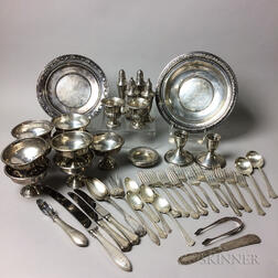 Large Group of Weighted Sterling Silver Tableware