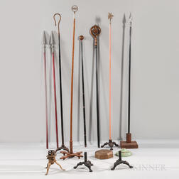 Eight Odd Fellows and Rebekah Lodge Staffs/Wands and Nine Stands
