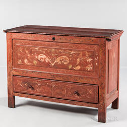 Red-painted and Paint-decorated Joined Chest over Drawer