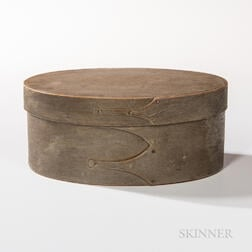 Shaker Green/Gray-painted Three-finger Oval Pantry Box