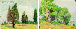 Robert Henry Logan (American, 1874-1942)    Lot of Two Tree Landscapes