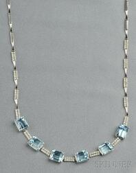 18kt White Gold, Aquamarine, and Diamond Necklace