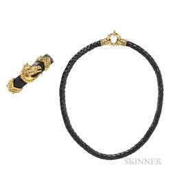 18kt Gold and Leather Bracelet and Necklace