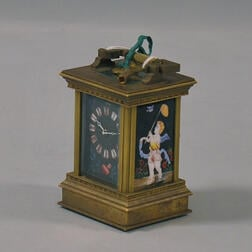 Chinese Reproduction Porcelain-mounted Brass Carriage Clock