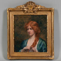 Ava Hedvig Gustaiva Lagercrantz (Swedish, 1862-1938)      Red-haired Woman in a Blue Dressing Gown