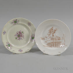Staffordshire Flag Plate and Transfer-decorated Commemorative Plate