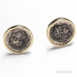 14kt Gold and Coin Earrings