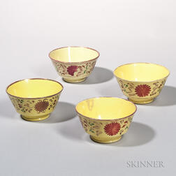 Four London-form Yellow-glazed and Luster-decorated Earthenware Bowls