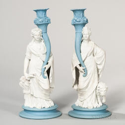 Pair of Wedgwood Jasper Figural Candlesticks