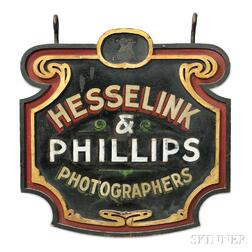 "Polychrome Carved and Decorated ""HESSELINK & PHILLIPS PHOTOGRAPHERS"" Trade Sign"