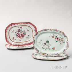 Two Pairs of Export Porcelain Serving Platters