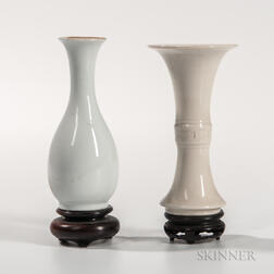 Two White-glazed Miniature Vases