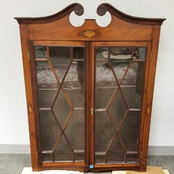 Georgian-style Inlaid and Glazed Mahogany Veneer Hanging Wall Cabinet