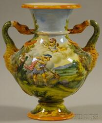 Richard Ginori Hand-painted Allegorical Landscape Scene-decorated Pottery Vase   with Two Swan-form Handles