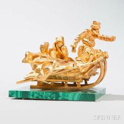 Russian Gilt-bronze Figural Group on Malachite Base