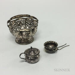 English Sterling Silver Mustard Pot, Dominick & Haff Sterling Silver Reticulated Bonbon Dish, and Silver-plated Tea Strainer