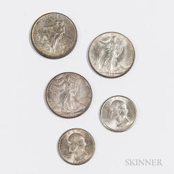 Five American Uncirculated Coins