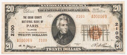 1929 The Edgar County National Bank of Paris Type 2 $20 Note