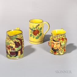 Three Pieces of Yellow-glazed Earthenware